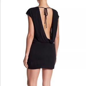 Haute Hippie Black Sleeve Draped Cocktail Dress M